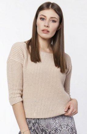 Sweter z dekoltem z przodu lub z tyłu beż SWE118