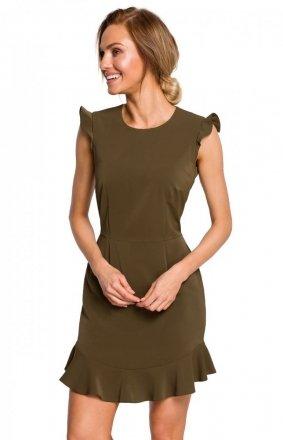Sukienka z falbanką khaki M438