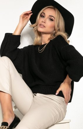 Oversizowy czarny sweter F1155