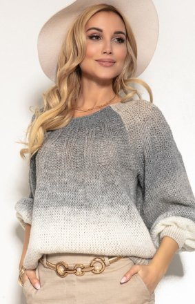 Oversizowy sweter ombre szary F1157