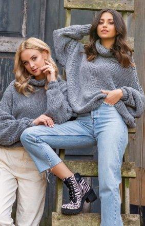 Wełniany sweter oversize szary Fobya F1128