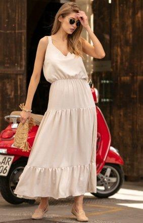 Długa sukienka z falbaną beżowa F738
