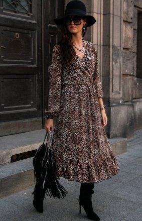 Sukienka midi w panterkę z falbaną 0241/61