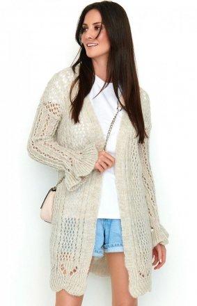 Ażurowy beżowy sweter S49