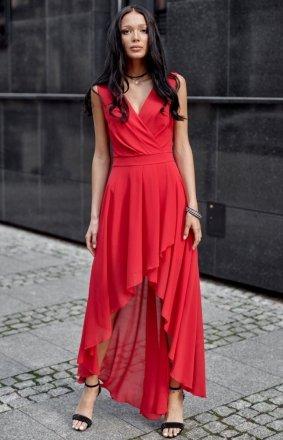 Szyfonowa sukienka z asymetrycznym przodem 0294 czerwona