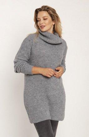 MKM SWE254 długi sweter z golfem szary