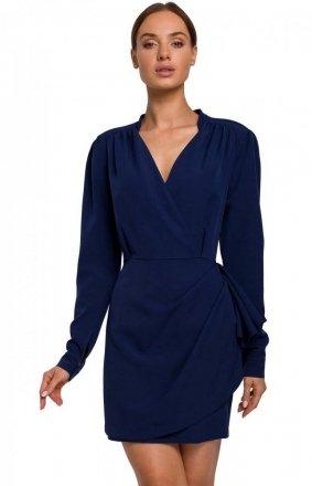 Elegancka mini sukienka z falbaną navy M531