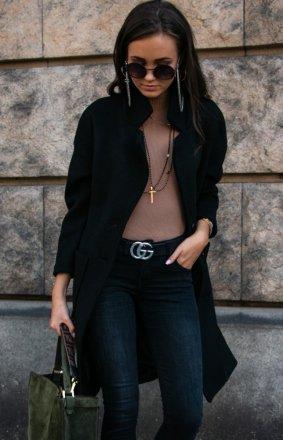 Elegancki płaszcz alpaka czarny P011
