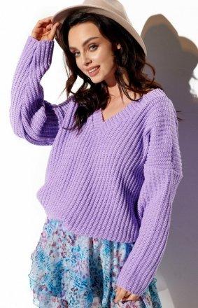 Oversizowy sweter z dekoltem liliowy LS292