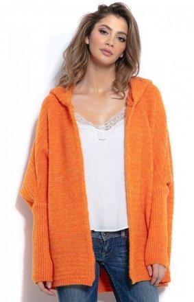 *Oversizowy sweter z kapturem pomarańcz F960