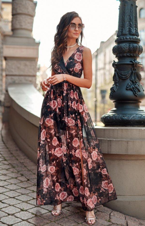 Szyfonowa długa sukienka letnia w kwiaty 0209 R67-1