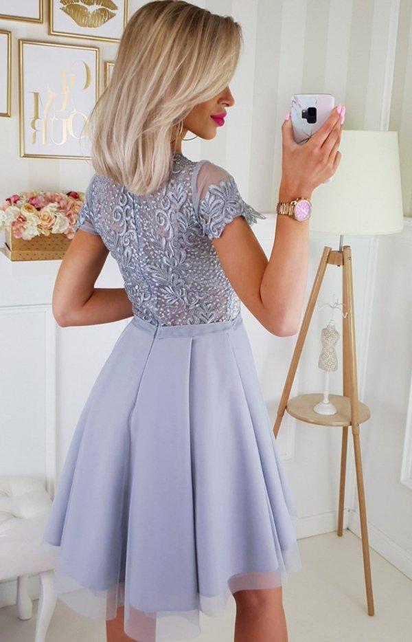 Sukienka z koronkową górą szara 2180-03_1