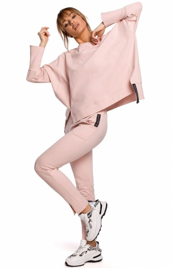 Dresowe spodnie z rozporkami pudrowy M493-1