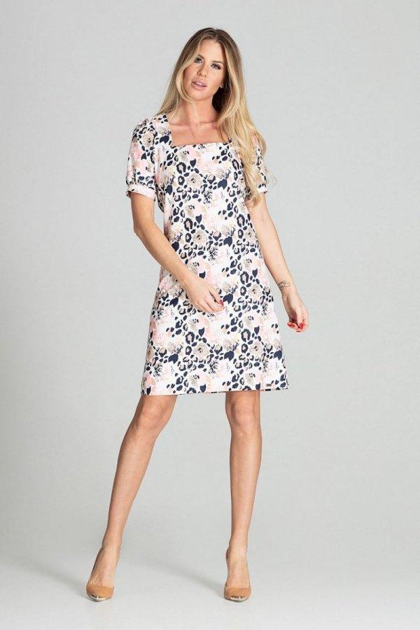 Wzorzysta sukienka M704/112-1