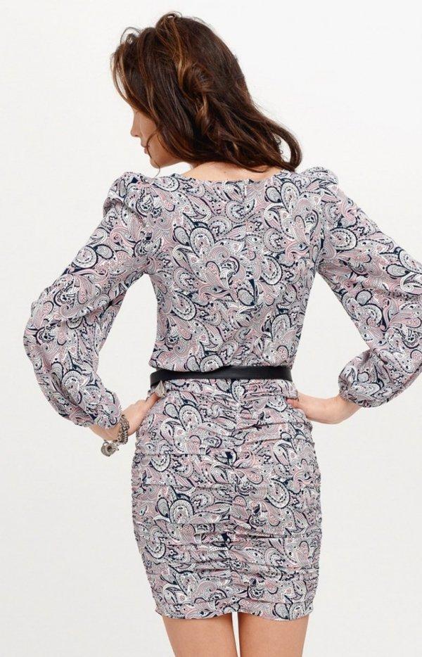 Ołówkowa sukienka z bufiastymi rękawami multi 0280/S28 tył