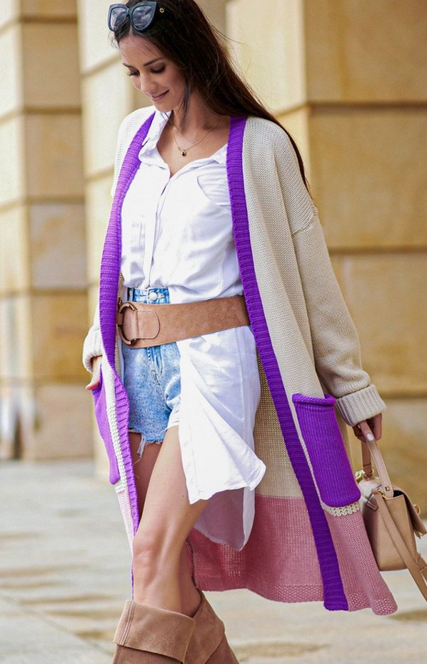 Długi trójkolorowy sweter kardigan fioletowy S70