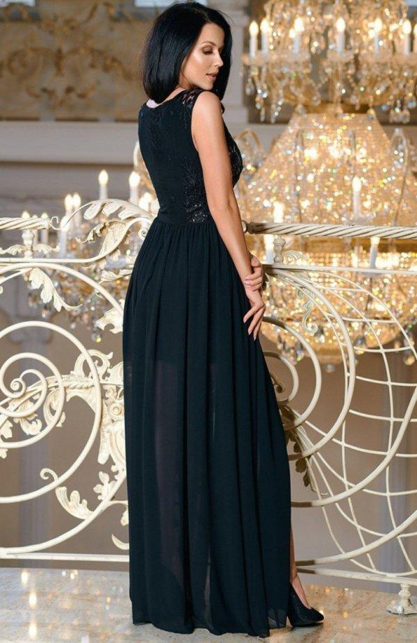 Bicotone 2171-06 sukienka maxi czarna tył