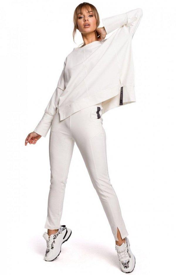 Dresowe spodnie z rozporkami ecru M493-1