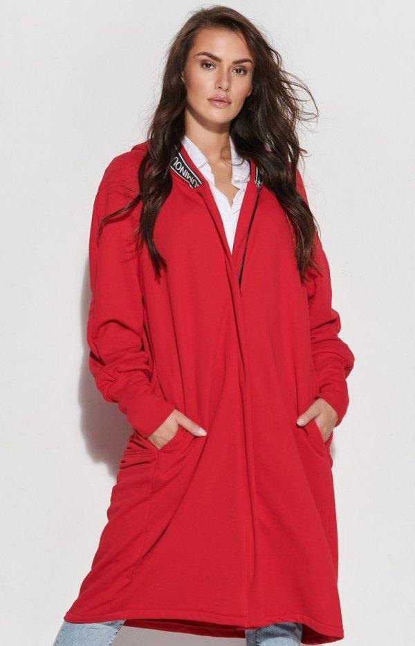 Długa czerwona bluza z kapturem NU338