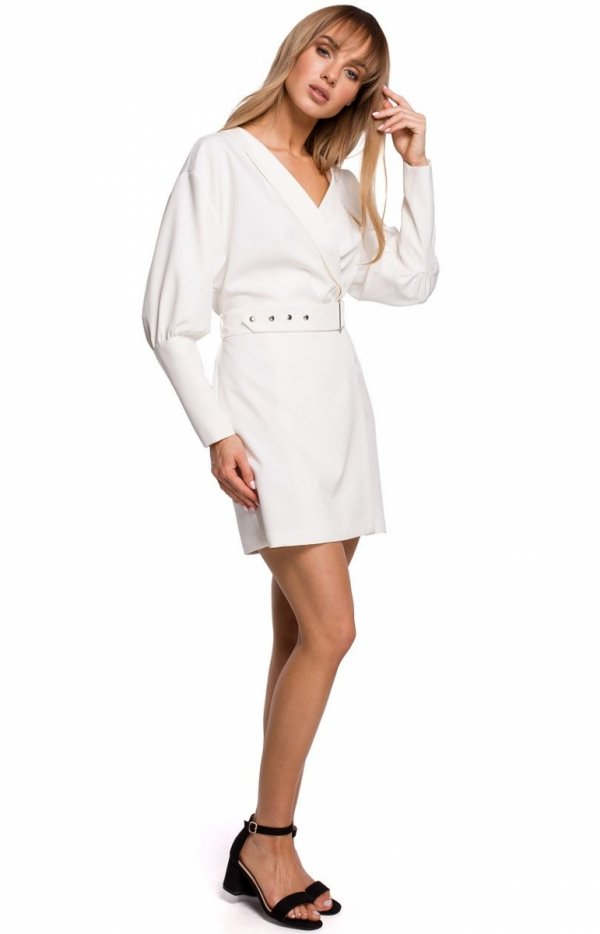 Stylowa sukienka z paskiem ecru M501 przód