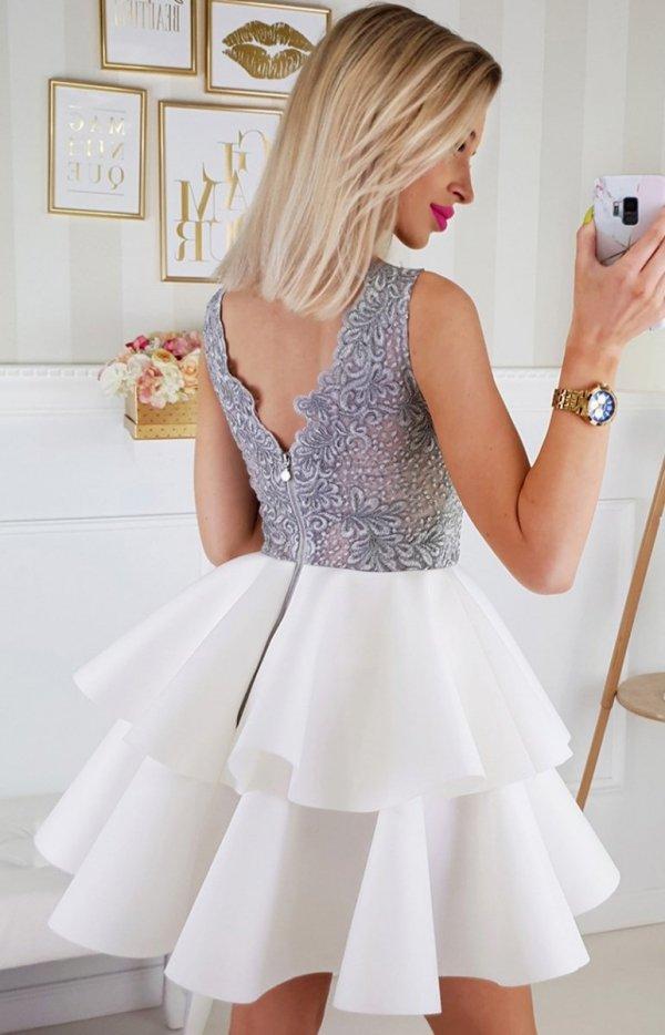 Piankowa sukienka z koronką 2175-31_1