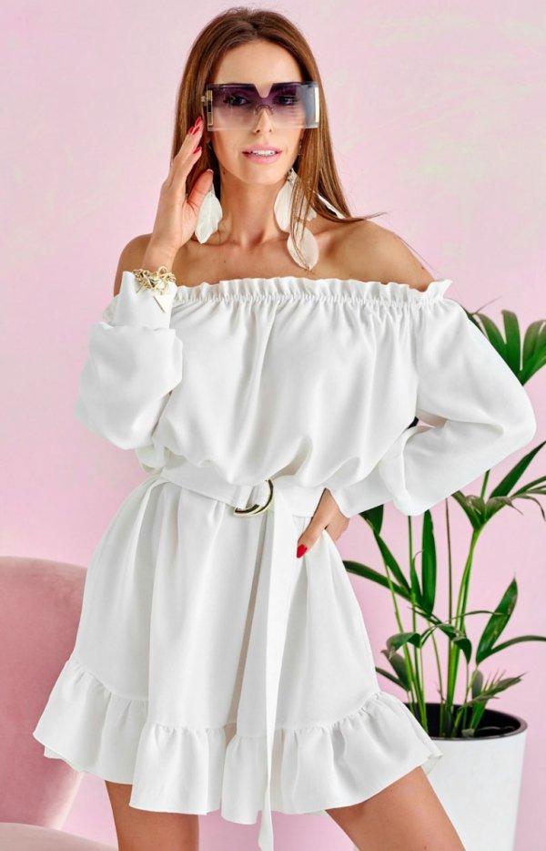 Sukienka w stylu boho ecru 0285