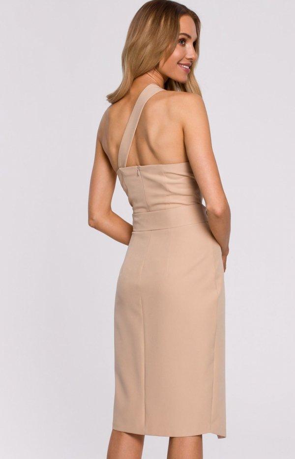 Elegancka sukienka na jedno ramię M572 tył