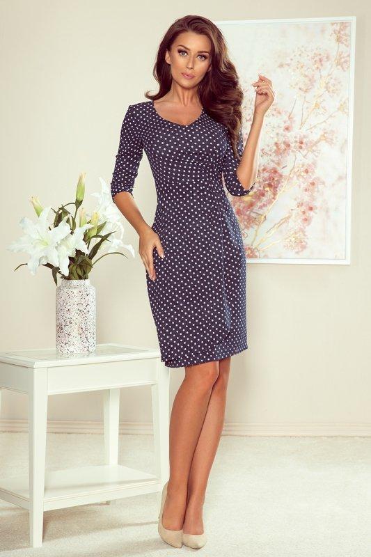 Ołówkowa sukienka w kropki 255-1 Iris-1