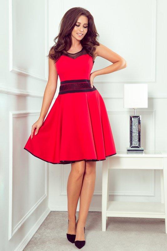 Rozkloszowana czerwona sukienka 261-1 RICA-1