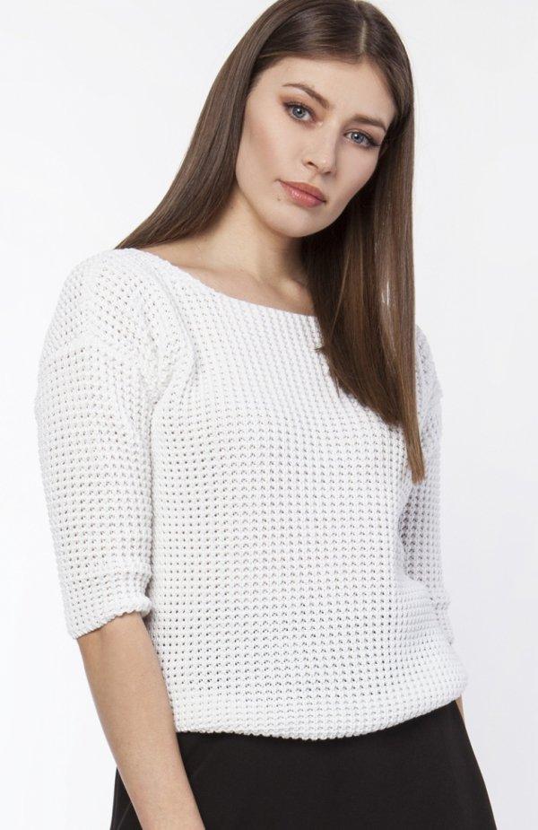 Sweter z dekoltem z przodu lub z tyłu ecru SWE118