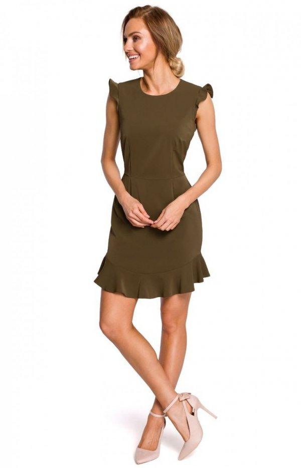 Sukienka z falbanką khaki M438_1