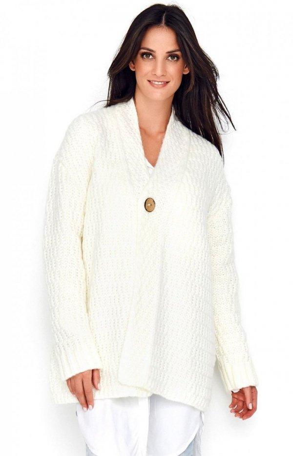 Ciepły sweter zapinany na guzik ecru Numinou S66