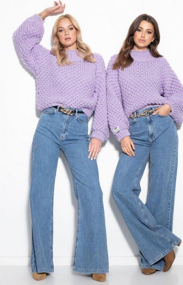 Ciepły gruby sweter damski fioletowy F1135-1