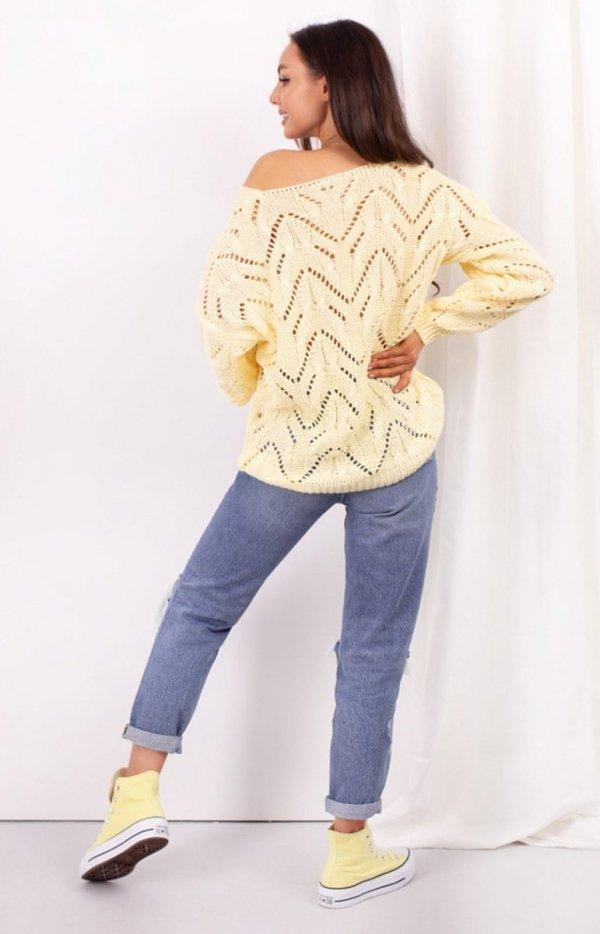 Ażurowy sweterek żółty LS319 tył