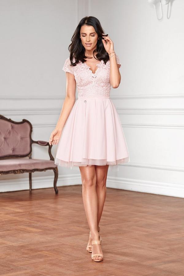 Sukienka z koronkową górą Bicotone pudrowy róż 2180-12_1