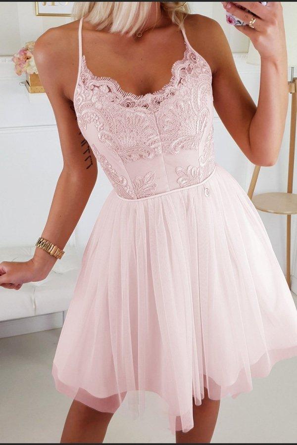Koronkowa sukienka z tiulowym dołem 2186-12-2