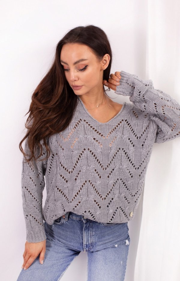 Ażurowy sweterek szary LS319