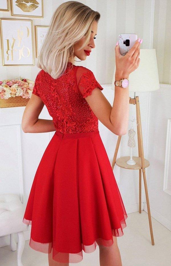 Czerwona koronkowa sukienka z tiulem 2180 TYŁ