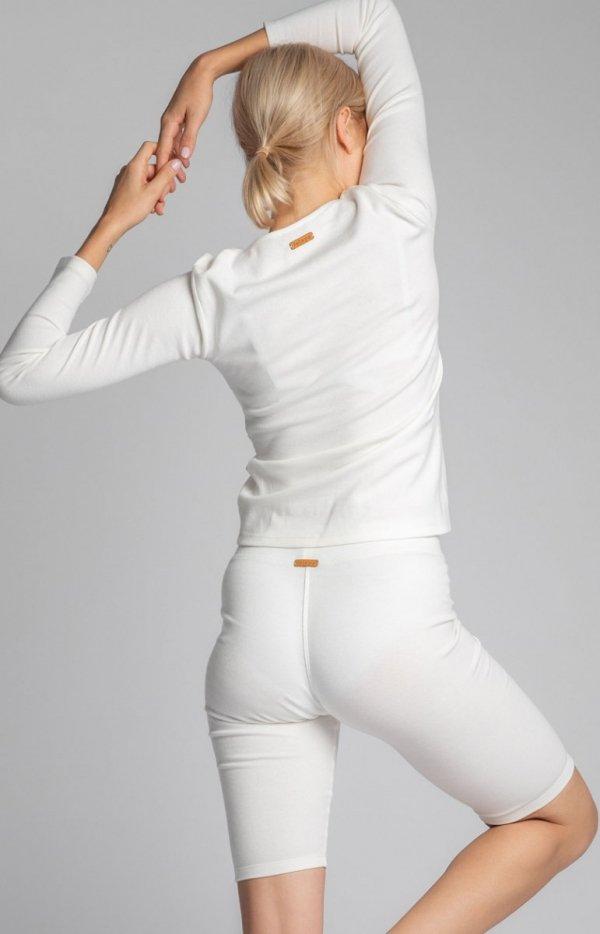 Krótkie legginsy damskie ecru LA036 tył