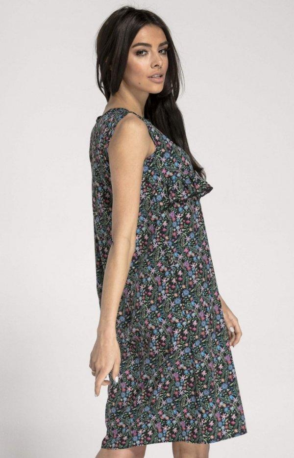 Prosta sukienka w kwiaty NA1001 tył