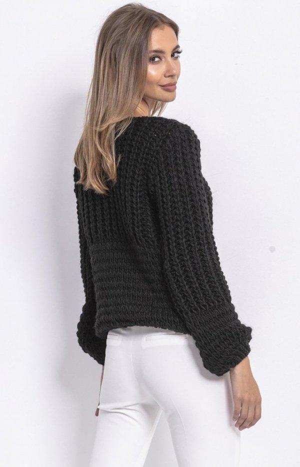 Oversizowy sweter z grubym splotem czarny F760 tył