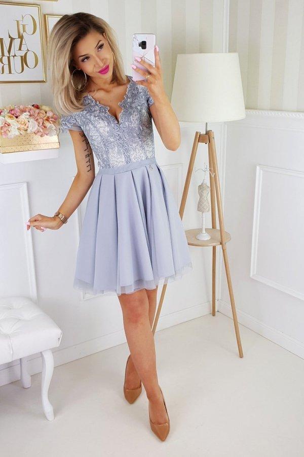 Bicotone 2180-03 sukienka rozkloszowana szara-1