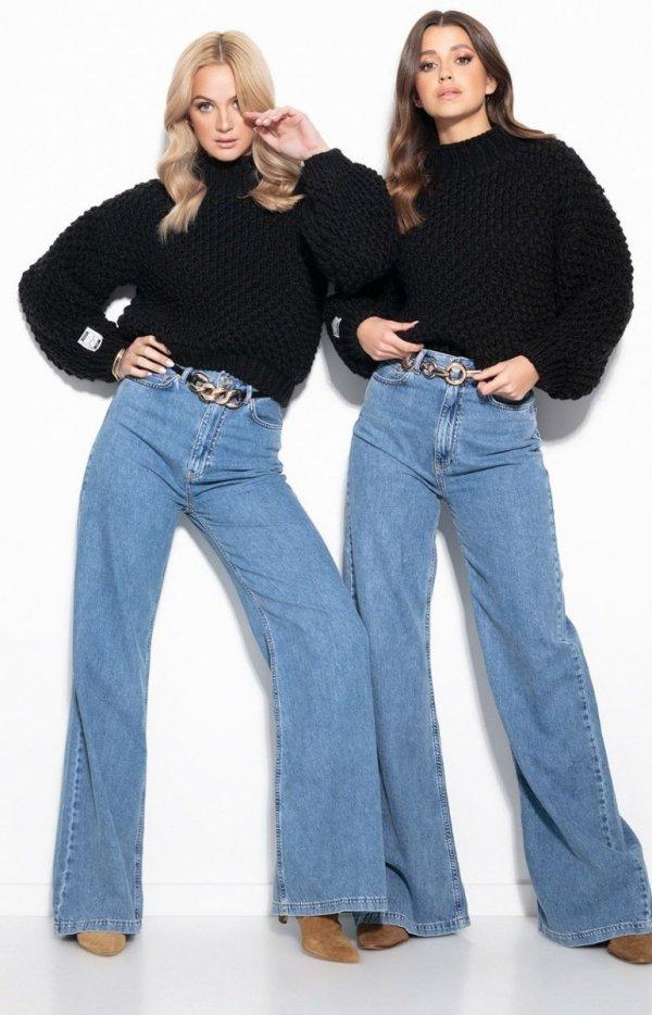 Ciepły gruby sweter damski czarny F1135-1