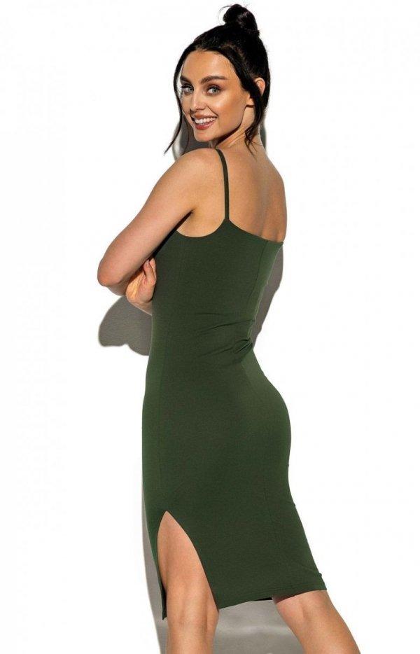 Dopasowana sukienka na ramiączkach khaki LN118 tył