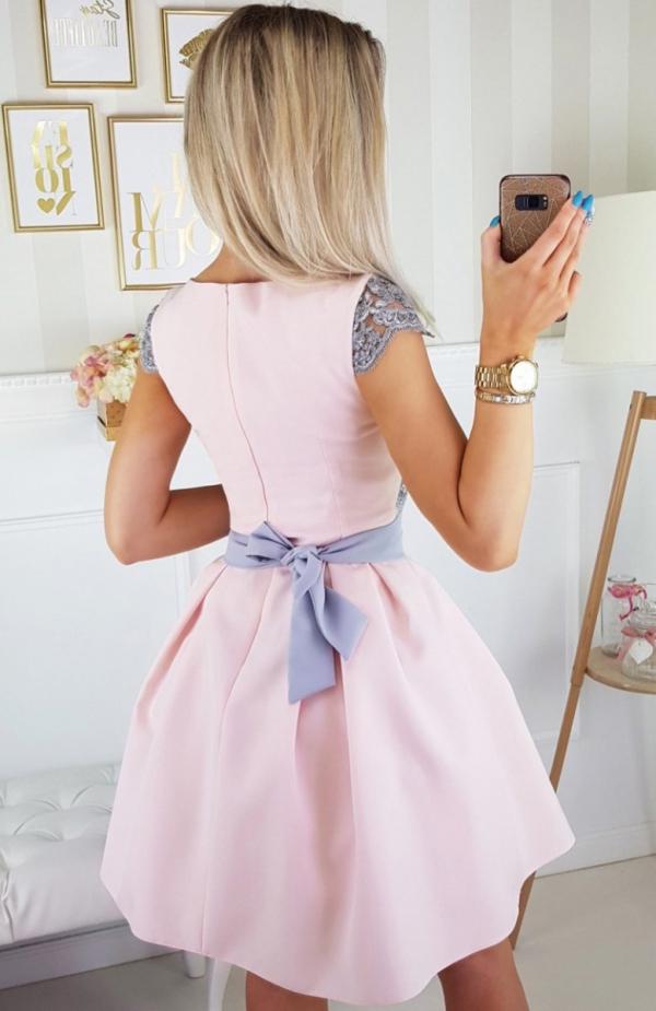 Bicotone 2139-33N sukienka jasny róż tył