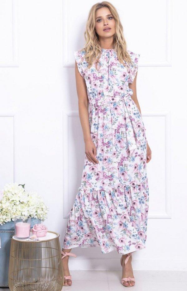 Długa sukienka w kwiaty F728