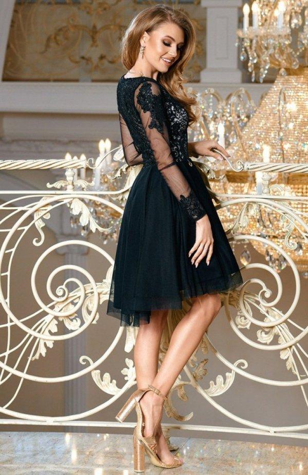 Bicotone 2160-06 sukienka rozkloszowana czarna tył