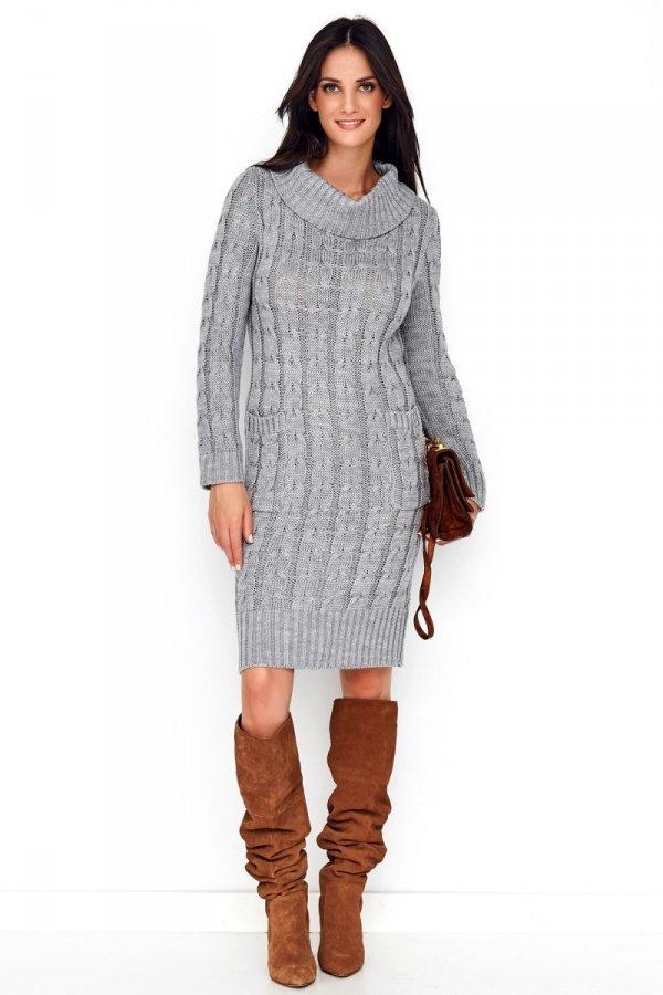 Sweterkowa sukienka z golfem szara S68-1