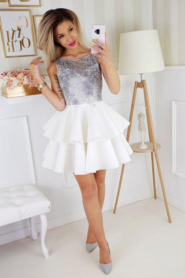 Piankowa sukienka z koronką 2175-31_2