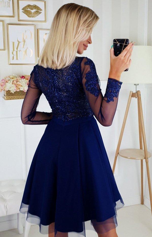 Granatowa sukienka wieczorowa z tiulem 2160-11 tył